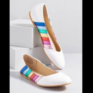 ModCloth Color Lover Metallic Rainbow Flats